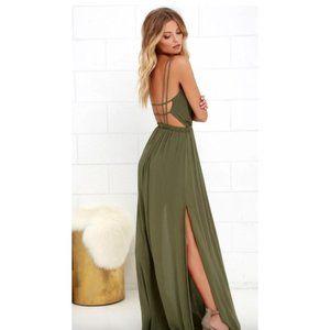 LULU'S Lost In Paradise Green Slit Maxi Dress L